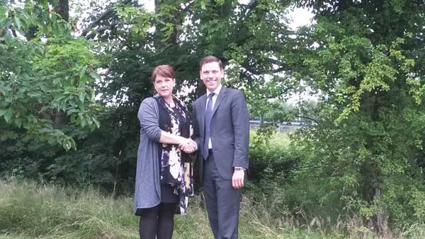 PARTNERS: Chris Evans MP welcomes Rhianon Passmore as the Assembly candidate for Islwyn