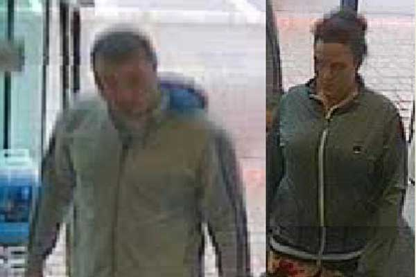 Police would like to speak to this man and woman in connection with a theft from Halfords, Caerphilly