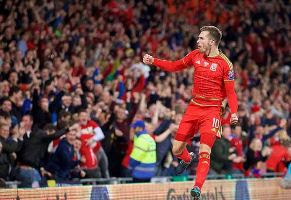 CLINCHED: Ramsey scored against Andorra in 2015 as Wales secured qualification to Euro 2016