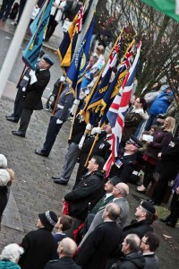 Veterans and police officers pay their respects