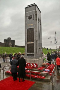 Wreaths were laid at Caerphilly Cenotaph. Picture by Carl Jones
