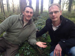 Semi-slug discoverer Christian Owen, left, with Dr Ben Rowson from National Museum Wales