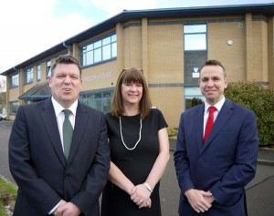(left to right) Alun Thomas and Heather Williams of Link Financial Outsourcing with Mark Sutton of Knight Frank