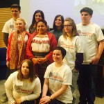 Caerphilly Youth Forum met Nobel Peace Prize winner Rigoberta Mechu Tum (centre)