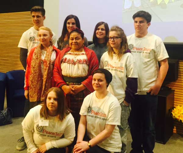 Caerphilly Youth Forum met Nobel Peace Prize winner Rigoberta Mechu Tum (centre)