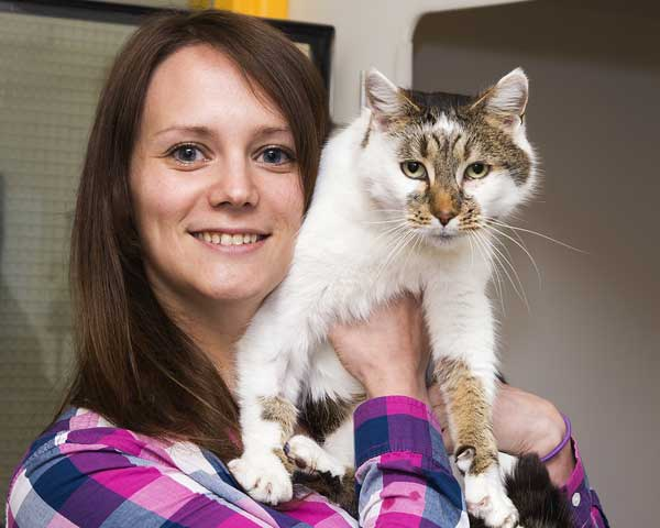 REUNITED AT LAST: Rebecca Lee and Chloe, who went missing in 2010. Photo by Cats Protection Bridgend.