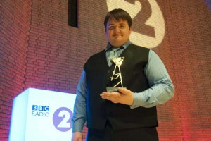 Daniel Thomas, from Rhymney, with his Young Brass Player of the Year award