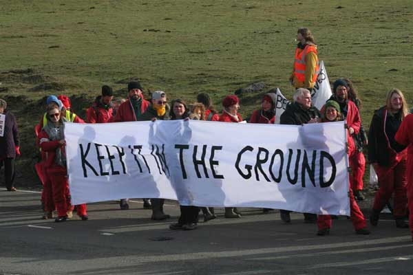 Reclaim The Power activists occupied the Ffos-y-Fran mine for 12 hours. Photo by United Valleys Action Group