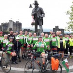 HOME: Members of Caerphilly Cycling Club welcome Andrew back