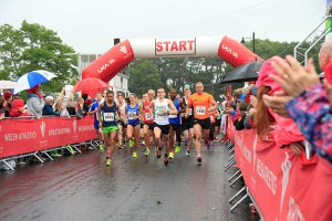 ON YOUR MARKS: The first of over 2,300 runners set off at the 2016 Caerphilly 10k