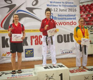 GOLD: European Champion Lauren Williams collects her gold medal after beating Vanessa Koerndl in the final in Greece