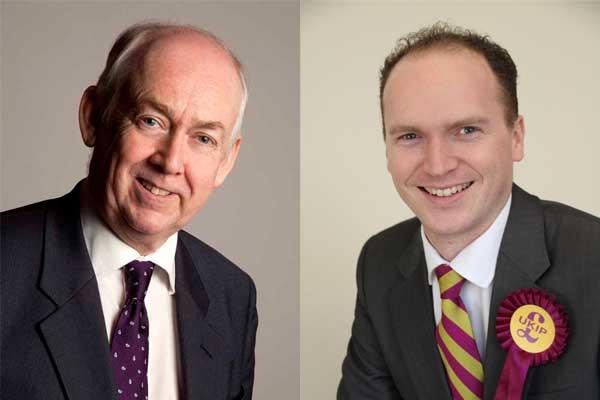 Caerphilly MP Wayne David, left, and UKIP's Sam Gould