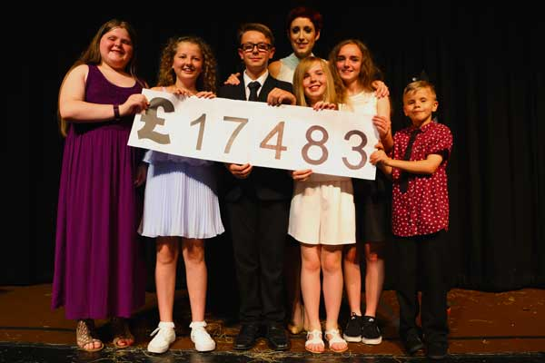 At its gala night, Connie Fisher unveils the amount raised for Blackwood Little Theatre - the total has since hit £18,000