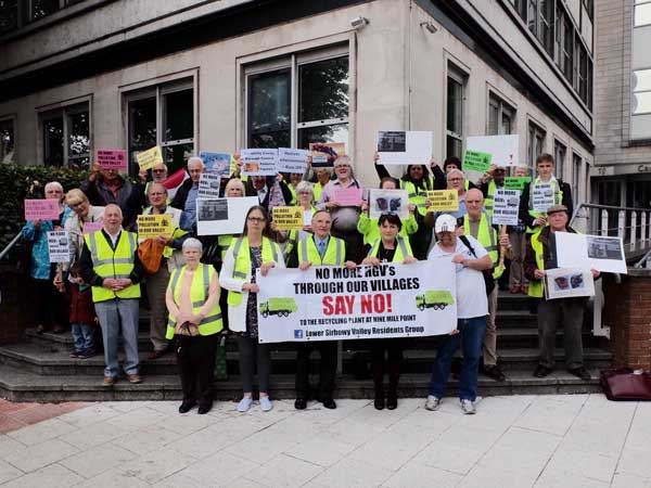 Campaigners protest against a proposed waste plant at Nine Mile Point Industrial Estate