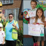HEALTH AND SAFETY: Pupils from Cwmaber Infant and Junior Schools with Ivor Goodsite and their safety posters, outlining the dangers of playing in a building site