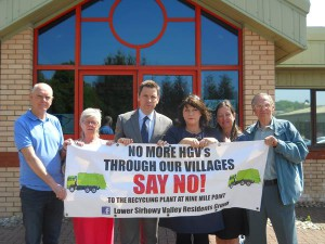 (Left to right) Campaigner Andrew Williams, Cllr Jan Jones, MP Chris Evans, AM Rhianon Passmore, Cllr Philippa Marsden and fellow protester Alan Sharpe object to the proposed waste plant at Nine Mile Point Industrial Estate