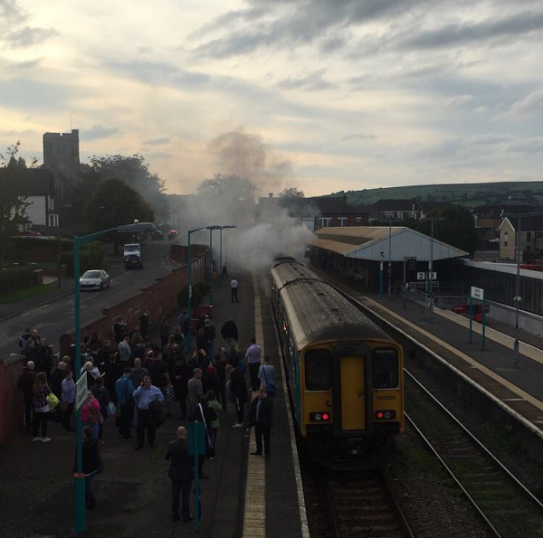 Passengers had to be evacuated from the train at Caerphilly railway station