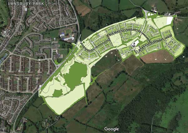 An artist's impression of the Gwern-y-Domen development superimposed on a satellite image of the area
