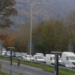 CONGESTION: Traffic queues onto the Cedar Tree roundabout