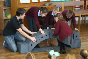 BUILDING BRIDGES: Pupils of Plas-y-Felin Primary School learn about gravity at the workshop