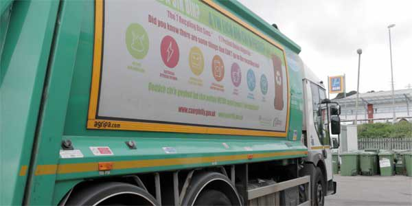 One of Caerphilly County Borough Council's recycling lorries
