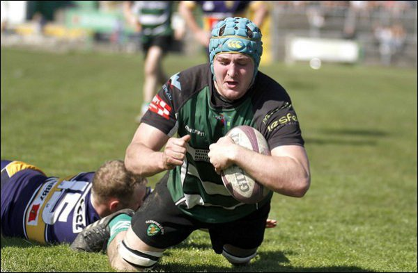 NO DISTRACTIONS: Caerphilly's Josh Hayward scores