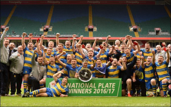 REDEMPTION: Penallta captain Ross Morgan lifts the National Plate at Finals Day 2017. Photo courtesy of the Welsh Rugby Union