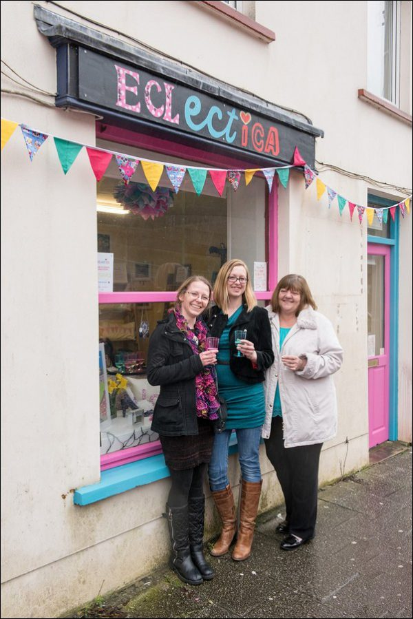 Eclectica owner Hanna Ferguson, centre, with customers Rebecca Ingram and Tonya Richards
