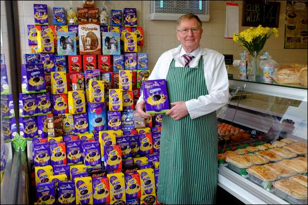 Howard Powell with the donated Easter eggs