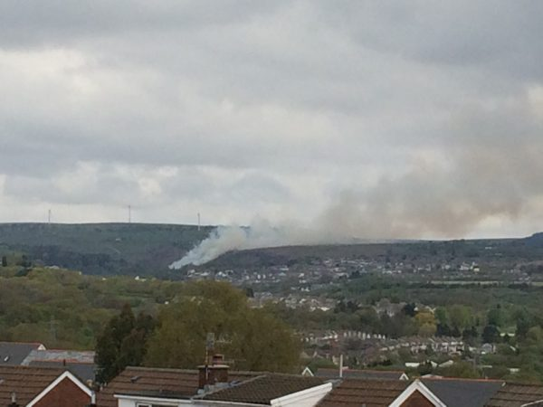 A fire on the mountainside in New Tredegar