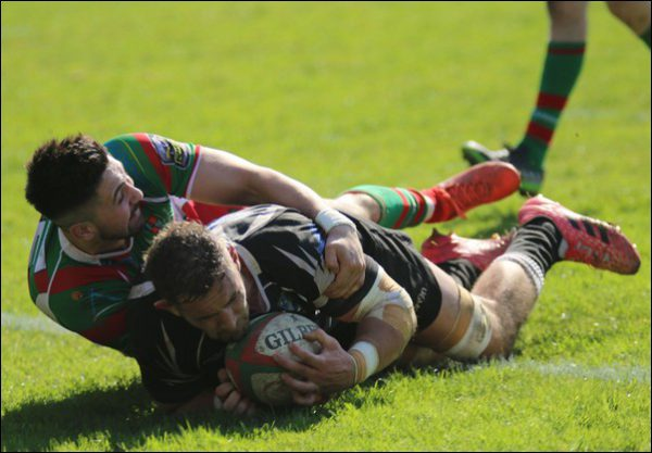 Bedwas's James Thomas crashes over for a try versus Llandovery