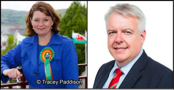 Plaid Cymru leader Leanne Wood and Labour's First Minister Carwyn Jones both visited Caerphilly County Borough in the run up to May's council elections