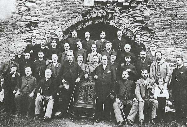 SOUGHT: The bardic chair, shown with the Caerphilly Eisteddfod Committee in 1888.