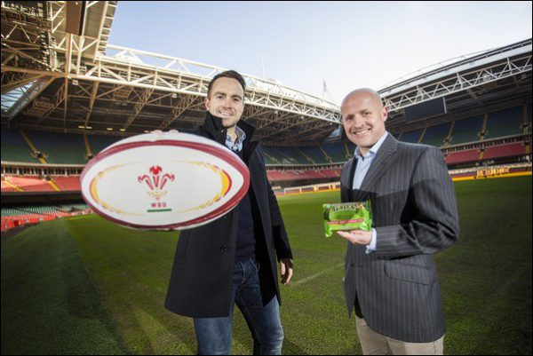 Ex-international rugby player Rhys Williams and Commercial Director for Peter's, James Osgood