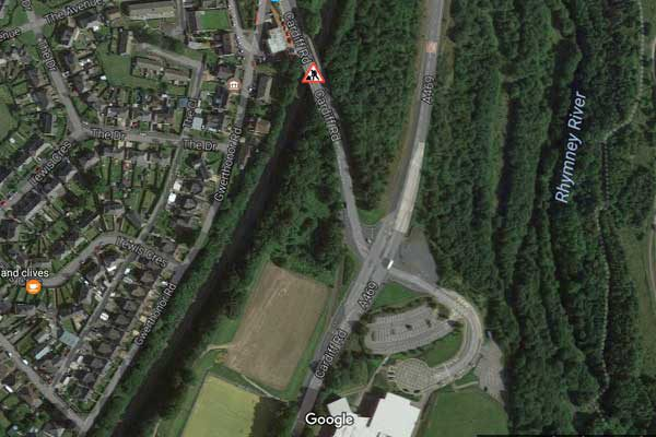 The rail bridge on Cardiff Road, in Gilfach, is currently being repaired