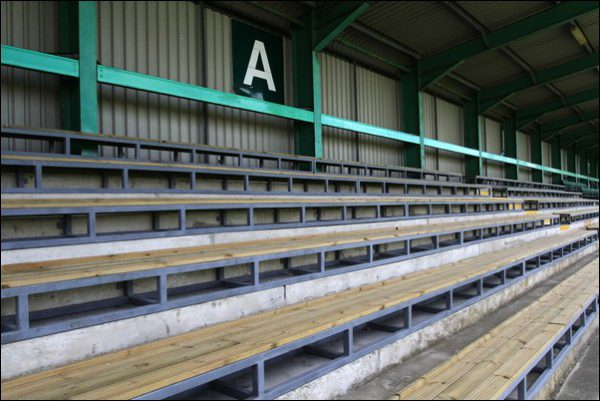 Bench seating has been adding to the east stand at Caerphilly RFC. Photo by Joanne Burgess