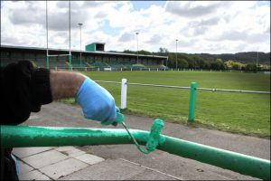 Caerphilly RFC's Constructaquote Stadium receives a facelift ahead of the Guinness Pro 12 clash between Newport Gwent Dragons and Cardiff Blues. Photo by Joanne Burgess
