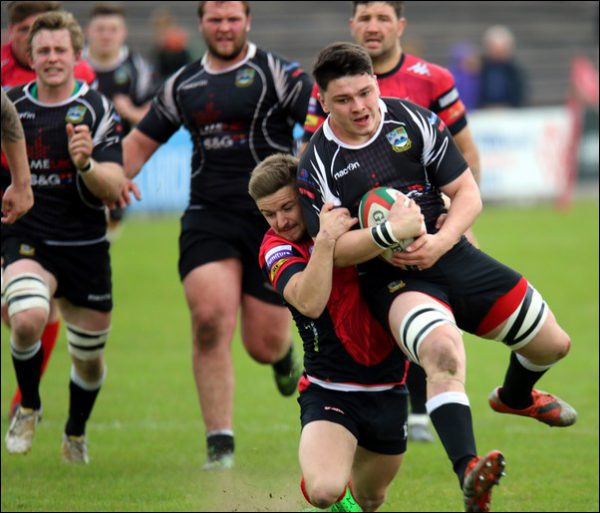 CAUGHT: Nathan Hudd of Bedwas is tackled in his side's defeat
