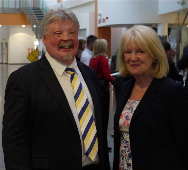 Simon Weston CBE and Denise Lovering, Chair of Caerphilly Business Forum