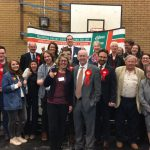 Wayne David and Labour activists celebrate their win in Caerphilly
