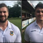 PUT PEN TO PAPER: Back-rowers Morgan Allen, left, and Nathan Hudd, right, have joined Bedwas