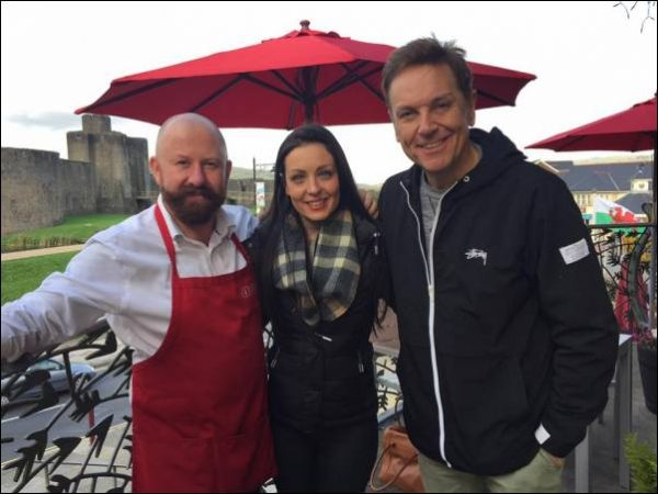 Visit Caerphilly Centre Manager Martin Cook with Strictly Come Dancing's Amy Dowden and Brian Conley