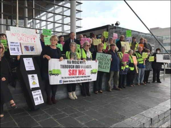 STANDING TOGETHER: Protesters made their opposition to a waste plant in Cwmfelinfach heard on the steps of the Senedd back in October