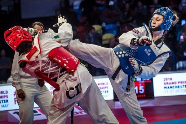GOING FOR GOLD: Blackwood's Lauren Williams fought brilliantly to claim the Grand Prix title. Photo: GB Taekwondo