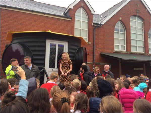 OPEN: 'Marathon mum' Claire Kulisa celebrates the opening of Machen Primary School's sensory den