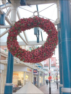 The poppy wreath at Castle Court shopping centre has since been repaired