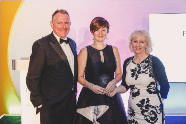 Premier Award Winner Alex Jones, centre, with presenter Jamie Owen, left, and Denise Roberts of Broomfield Alexander, right