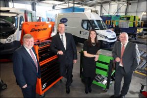 Phil Williams and Mark Lovering, Glenside Commercials, left, with Ruby Harcombe and Stephen Galvin, Development Bank of Wales