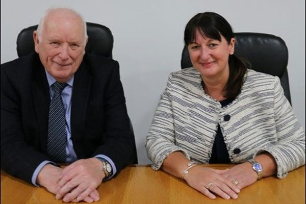 THE TOP TWO: Council leader Dave Poole and new chief executive Christina Harrhy