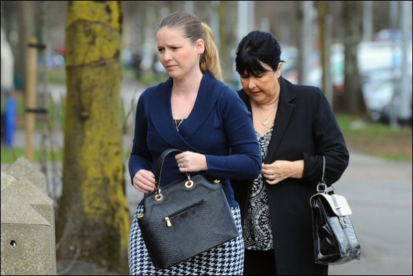 Melanie Bishop and her mother Patricia arriving at Cardiff Crown Court . Picture by Wales News Service